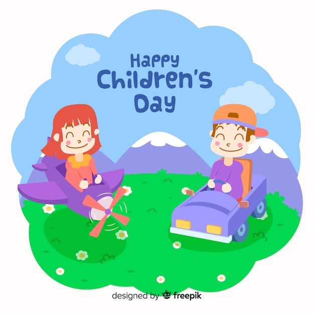 Счастливый детский день с детьми, играющими на улице и улыбающимися Бесплатные векторы