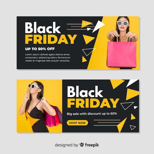 Плоский дизайн шаблона черная пятница баннеры Бесплатные векторы
