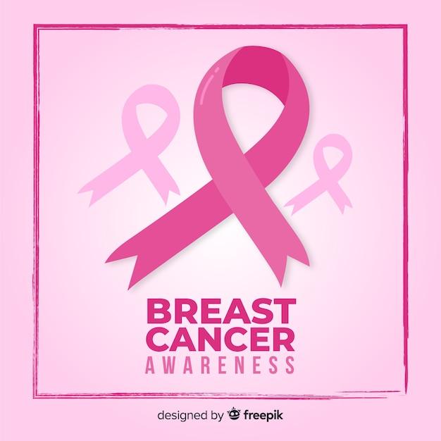 Месяц осведомленности рака молочной железы розовой лентой и фоном Бесплатные векторы