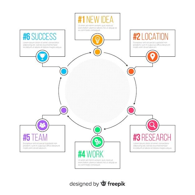 Плоский дизайн инфографики шаги шаблон Бесплатные векторы