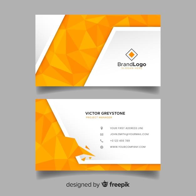Шаблон многоугольной визитной карточки в абстрактном стиле Бесплатные векторы