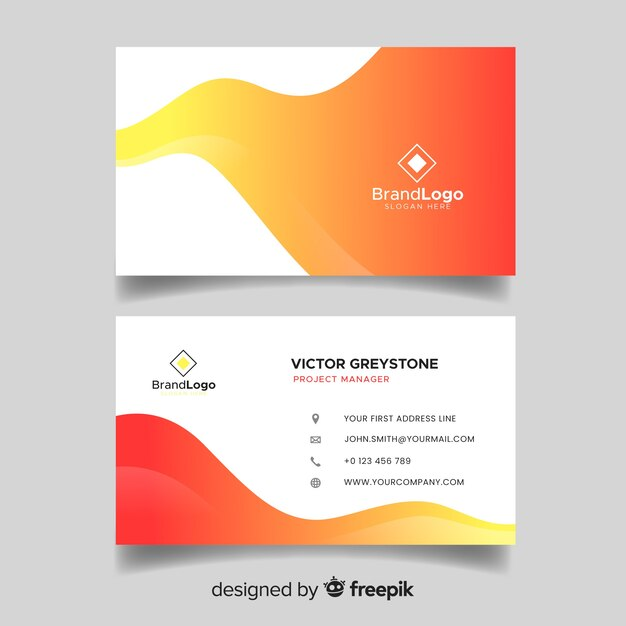 Шаблон визитной карточки абстрактный градиент двухцветный Бесплатные векторы