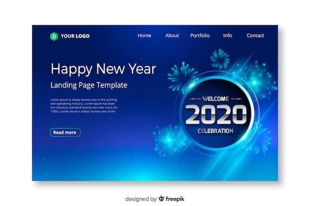 Плоский дизайн новый год шаблон страницы посадки Бесплатные векторы