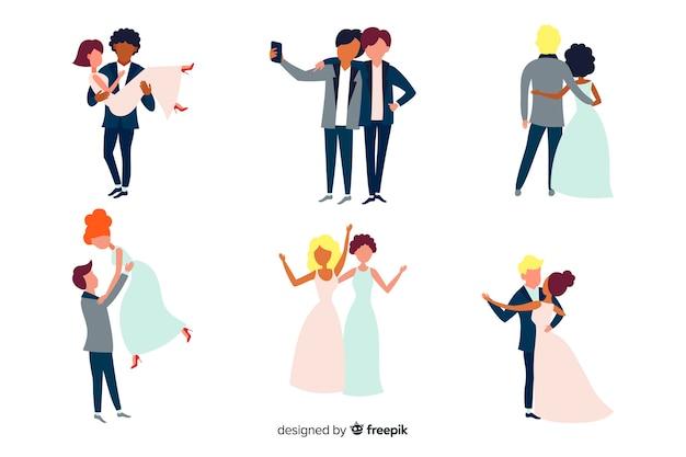 Плоский набор свадебных пар Бесплатные векторы