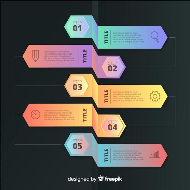Шаблон элементы градиента шаги инфографики Бесплатные векторы
