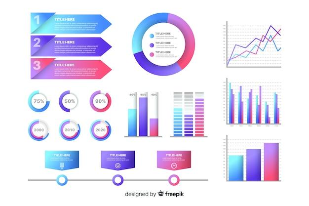 Набор элементов градиента инфографики Бесплатные векторы