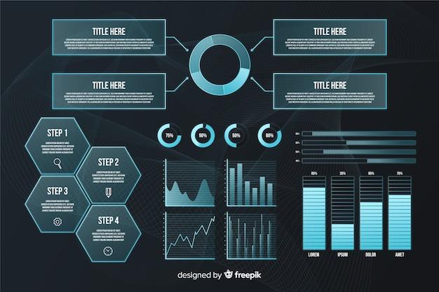 未来的なインフォグラフィック要素のコレクション 無料ベクター