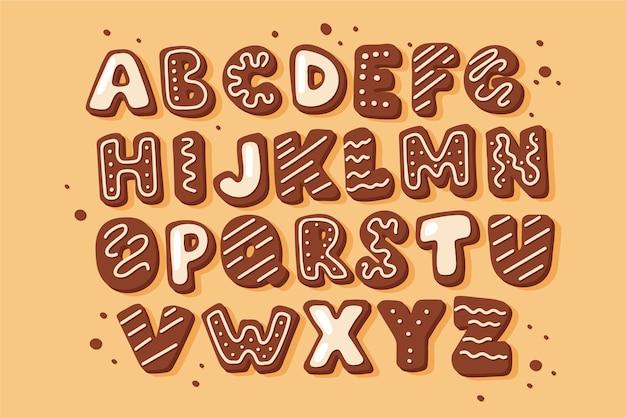 Пряничный рождественский алфавит Бесплатные векторы