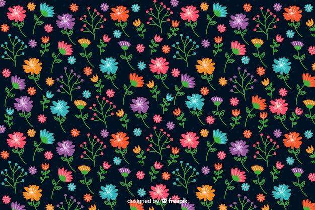 カラフルな頭が変な花の背景 無料ベクター