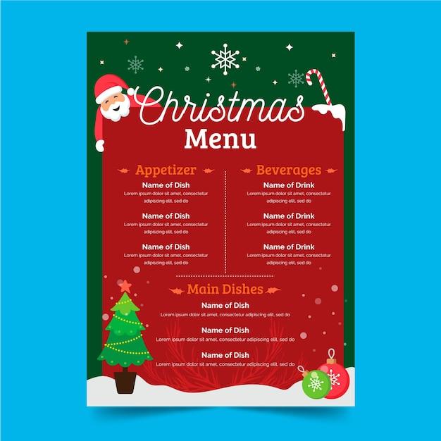 フラットなデザインのクリスマスメニューテンプレート 無料ベクター