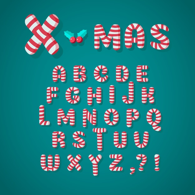 キャンディケインクリスマスアルファベット 無料ベクター