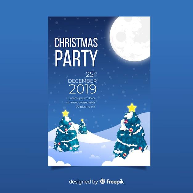 手描きクリスマスパーティーポスターテンプレート 無料ベクター