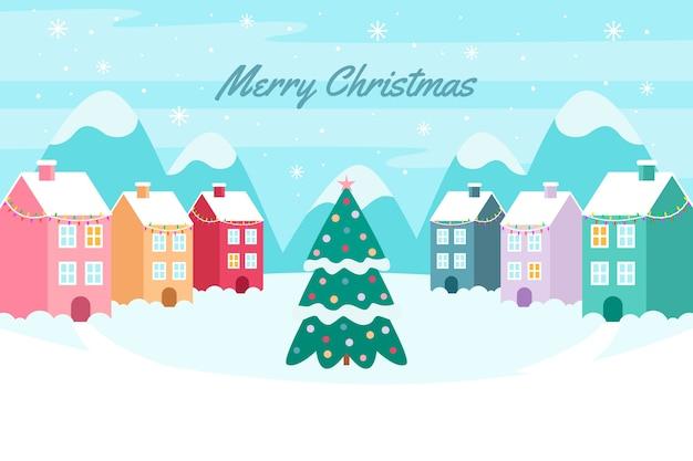 フラットなデザインのクリスマスタウン 無料ベクター