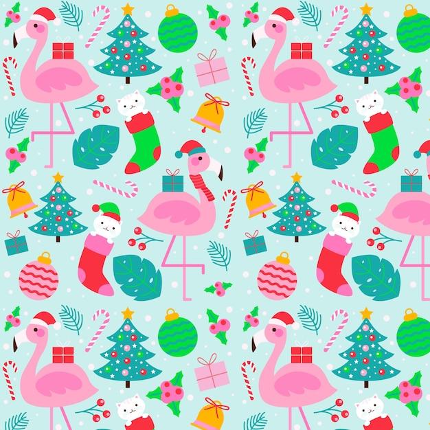 Красочный забавный рождественский узор Бесплатные векторы