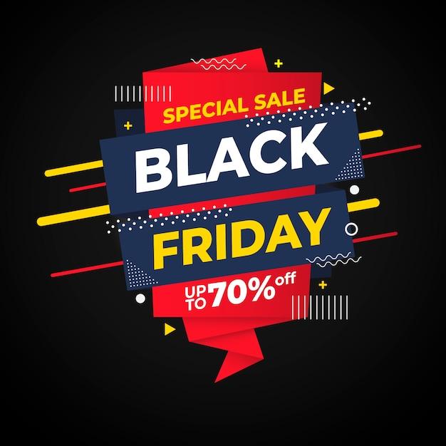Плоский дизайн черная пятница специальная распродажа баннер Бесплатные векторы