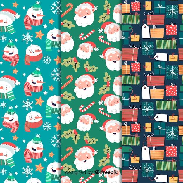 Ручной обращается рождество шаблон коллекции Бесплатные векторы