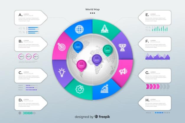 Инфографики шаблон с картой мира Бесплатные векторы
