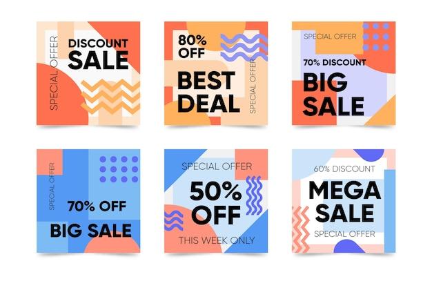 Продажа инстаграм пост-коллекция в стиле мемфис Бесплатные векторы