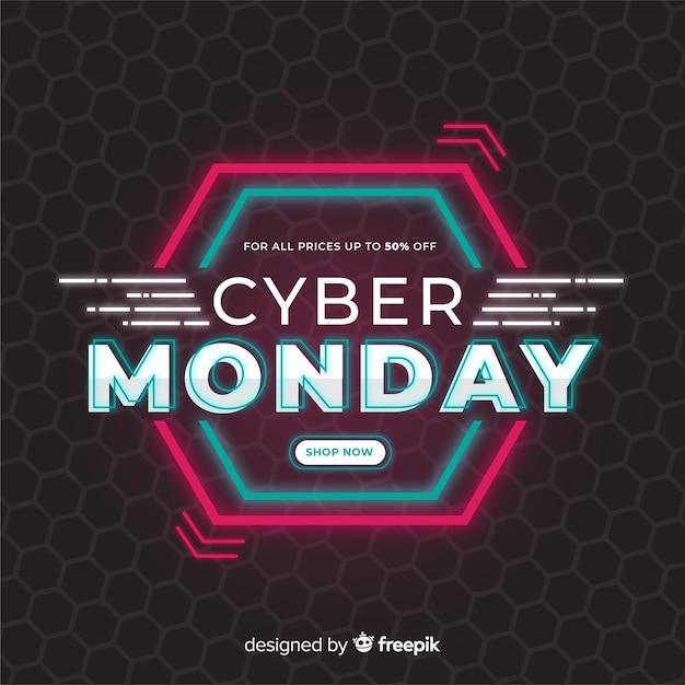 フラットなデザインのサイバー月曜日コンセプト 無料ベクター