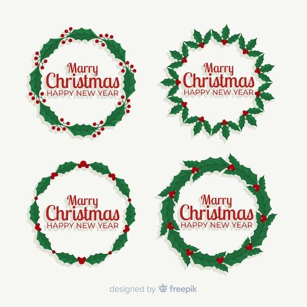 Плоский дизайн коллекции рождественский венок Бесплатные векторы