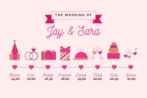 結婚式のタイムラインチャートのピンクの直系スタイル 無料ベクター