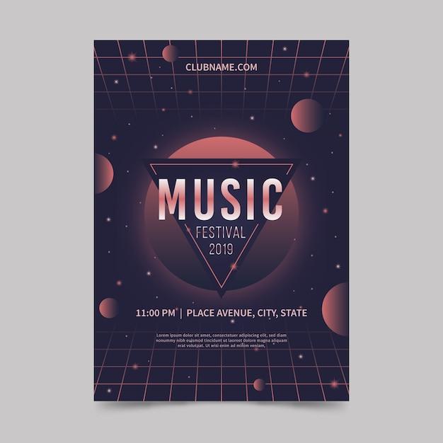 レトロな未来的な音楽ポスターテンプレート 無料ベクター
