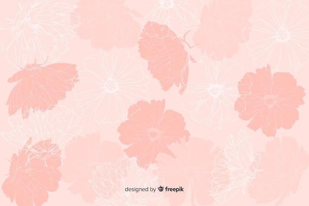 パステル調の背景に現実的な手描きの花 無料ベクター