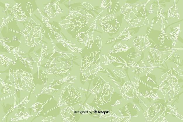 リアルな手描きの花とパステル調の背景の葉 無料ベクター