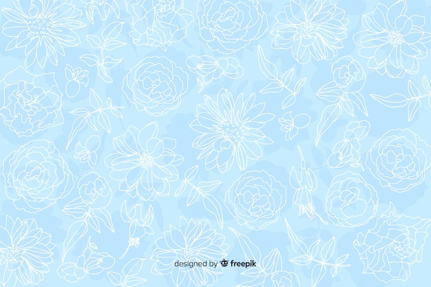 パステル調の背景に現実的なモノクロの花 無料ベクター