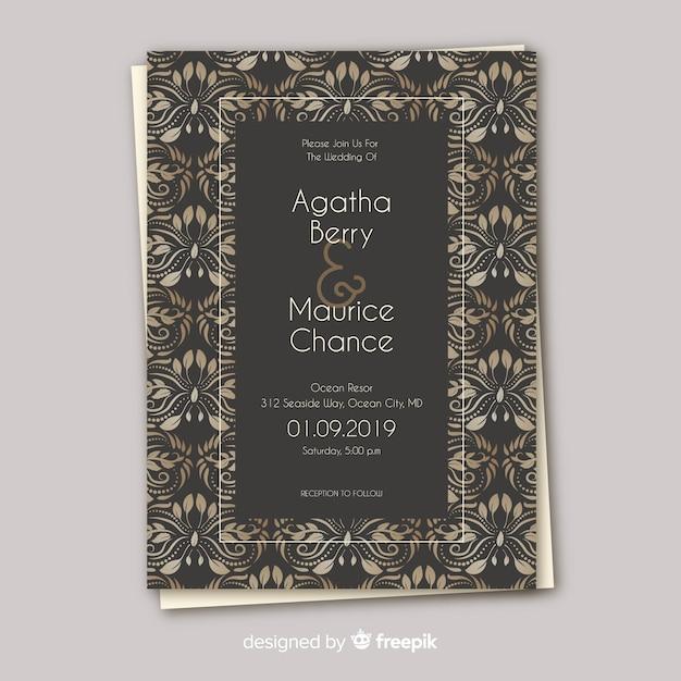 美しいダマスク織の結婚式の招待状 無料ベクター