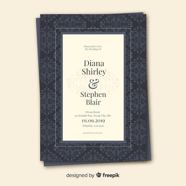 美しいダマスク織の結婚式の招待状のテンプレート 無料ベクター