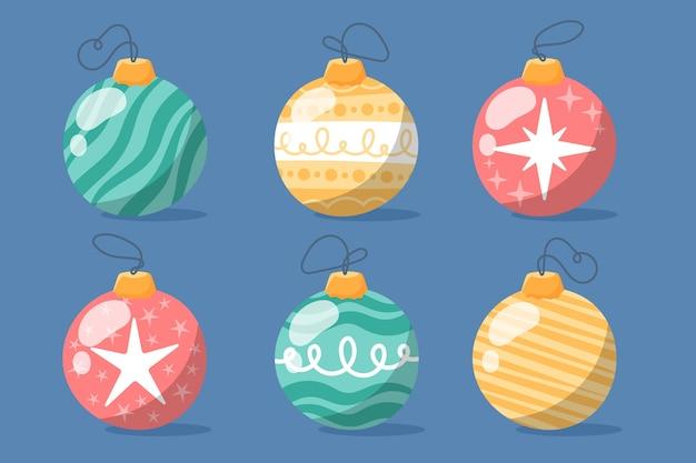 Ручной обращается рождественские шары Бесплатные векторы