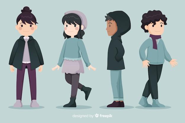 Молодые люди в зимней одежде Бесплатные векторы
