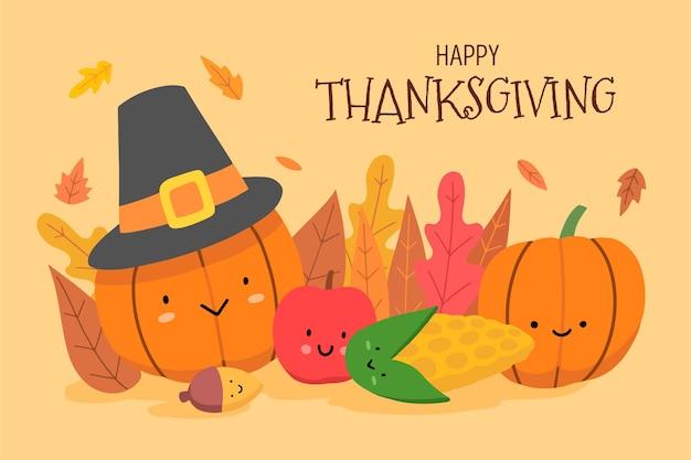 手描きの感謝祭の背景 無料ベクター