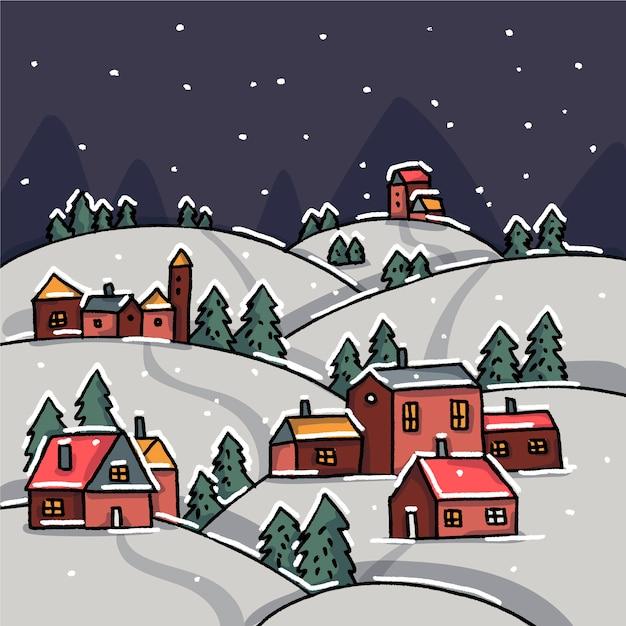 Рисованной рождественские городские обои Бесплатные векторы