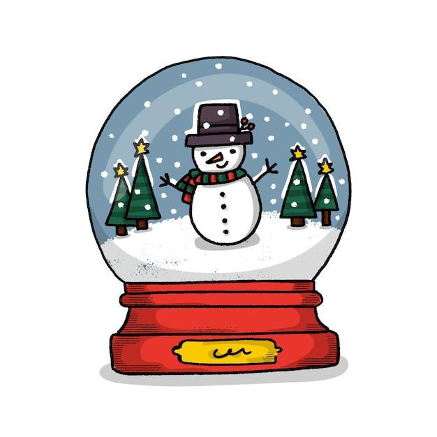 Ручной обращается рождественский снеговик глобус Бесплатные векторы