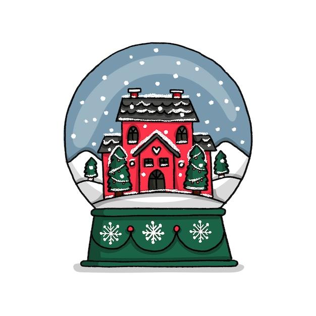 Ручной обращается рождественский дом глобус Бесплатные векторы