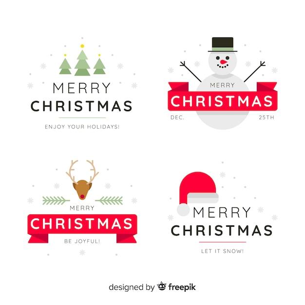 Плоский дизайн рождественская коллекция значков Бесплатные векторы