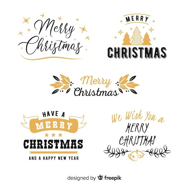 Рождественская коллекция этикеток надписи Бесплатные векторы