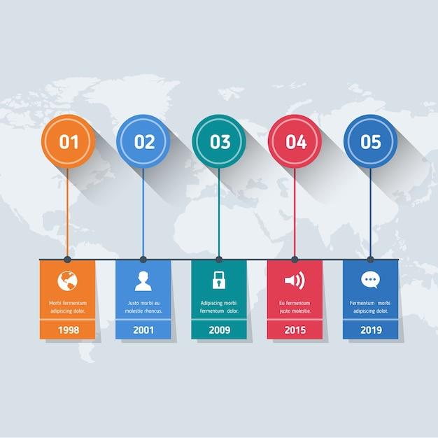 Плоские инфографики шаги на карте мира Бесплатные векторы