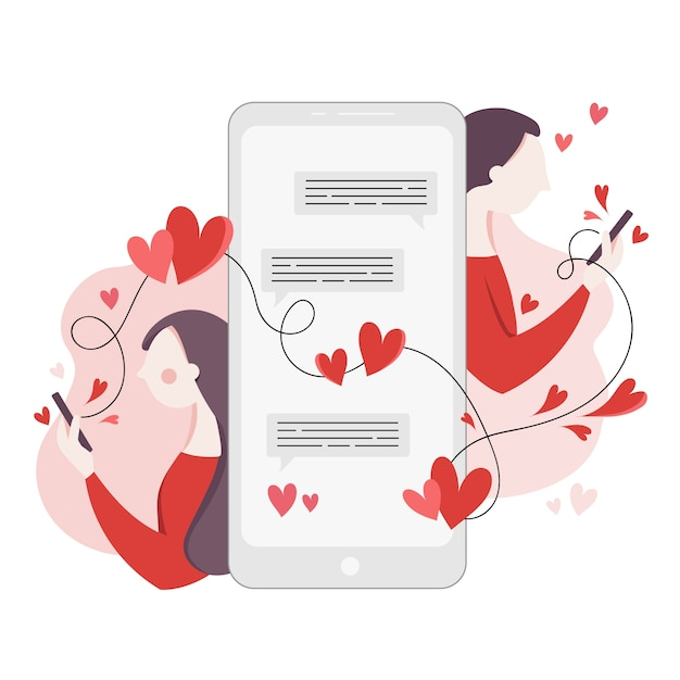 Знакомства приложение концепция с девушкой и мальчиком текстовых сообщений Бесплатные векторы