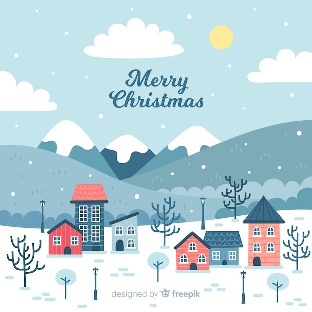 Ручной обращается рождественский городок Бесплатные векторы