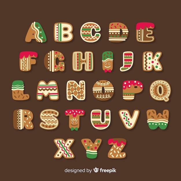 Симпатичные пряники рождественские алфавит Бесплатные векторы