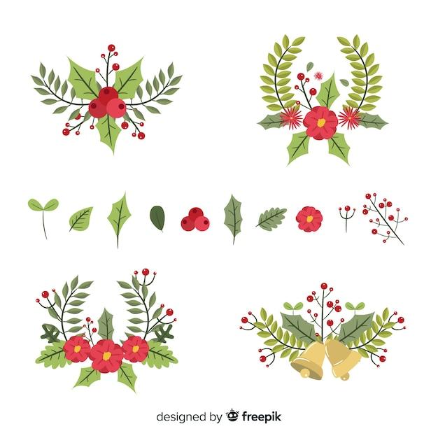 Плоский дизайн рождественской коллекции цветов и венков Бесплатные векторы