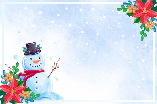 Акварель новогодний фон со снеговиком Бесплатные векторы