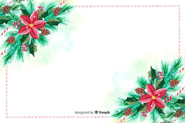 Акварельные рождественские обои с цветами Бесплатные векторы