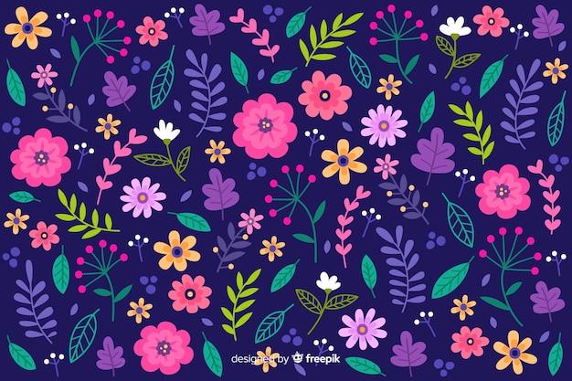 頭が変なカラフルな花の壁紙 無料ベクター