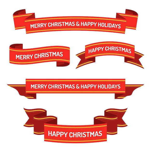 Рождественская коллекция плоской ленты Бесплатные векторы
