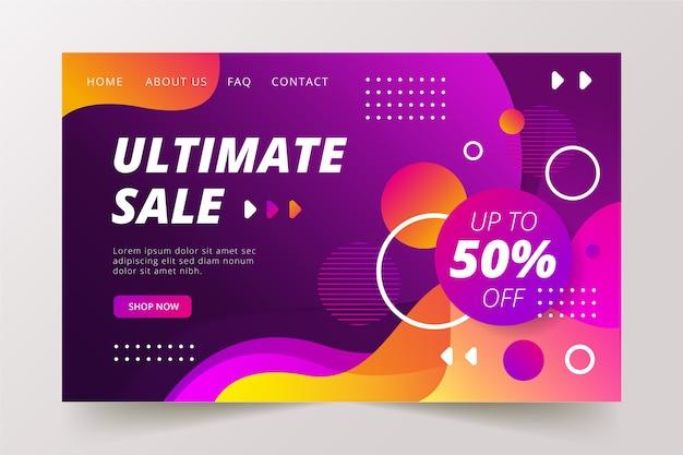 Абстрактная конечная продажа целевая страница Бесплатные векторы