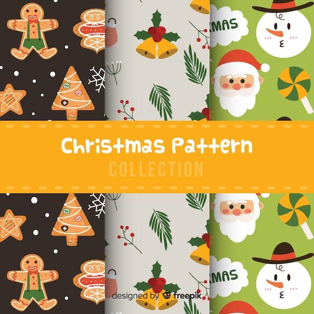 Коллекция рождественских узоров в плоском дизайне Бесплатные векторы